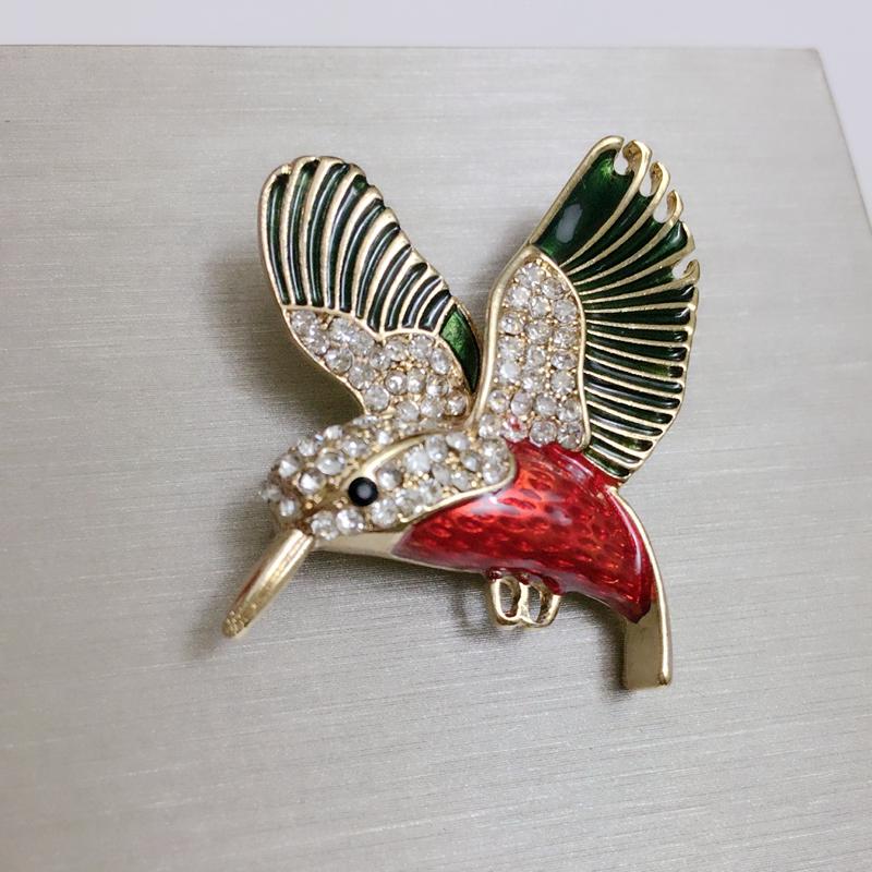 韩国饰品珐琅可爱小鸟胸针高档水晶动物胸花外套开衫大别针披肩扣