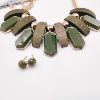 青岛欧美流行时尚饰品仿真金木头/树脂墨绿合金大气项链