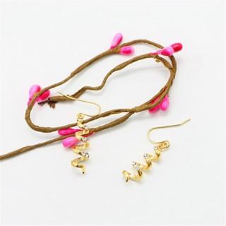 时尚新款金色耳环宝石优雅简约耳钉耳饰挂坠韩版饰品防过敏