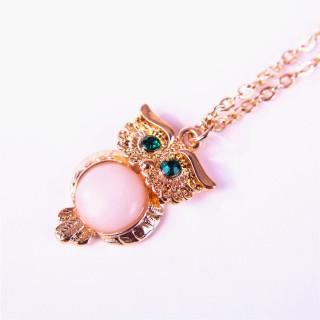 粉色石头金色猫头鹰项链女时尚优雅百搭毛衣链日韩流行外贸新款
