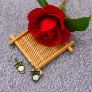 时尚新款粉色浅绿色石头耳环猫头鹰首饰女镶嵌宝石耳钉简约百搭款