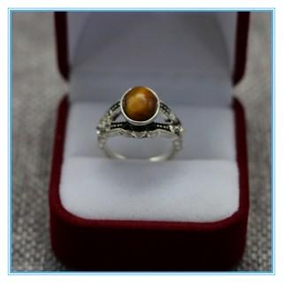 时尚新款天然石虎眼石镶嵌戒指简约椭圆指环女民族风手工首饰