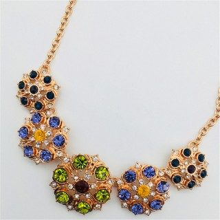 定制 2018新款欧美时尚项链外贸饰品女镶嵌宝石花型项链