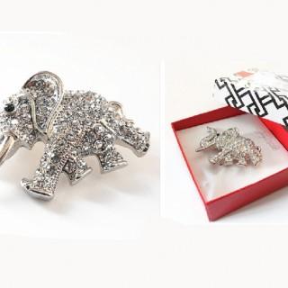 Secret Woman原单饰品盒装 吉象玻璃水晶镶嵌奔腾吉祥象礼品胸针