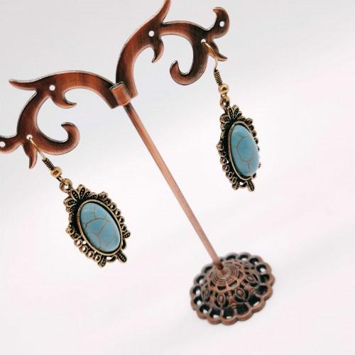 欧美风复古简单百搭蓝松石镶嵌气质耳坠