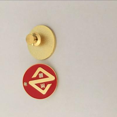武汉锌合金徽章报金属胸章厂家双面logo纪念章制作
