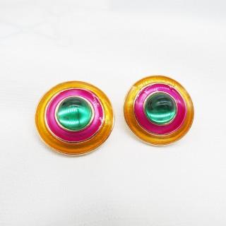 无耳洞耳夹圆形珐琅宝石系列