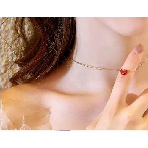 日本AHKAH正品深田恭子小红心18K金锁骨项链